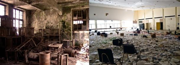 Interior edificios en Ferrol e Detroit.