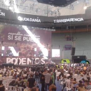 O bloque crítico de Podemos decide acampar no Palacio de Vistalegre e négase a abandoar a asembleafundacional