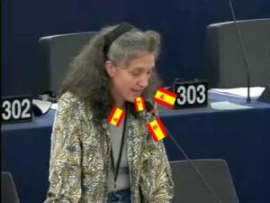 Lidia Senra falando español no Europarlamento