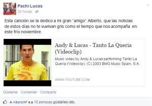 Dedicatoria de Pachi Lucas a Alberto Nuñez Feijóo na rede social Facebook.