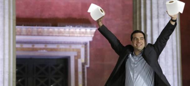 """Alexis Tsipras """"Chiripas"""", recordou no seu discurso que o papel hixiénico vai ser necesario, pero para os partidos da dereita europea."""