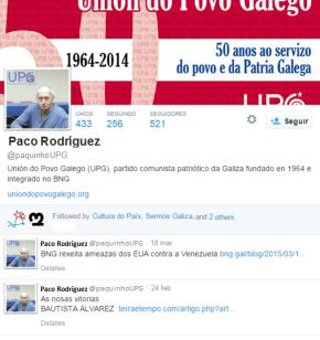 A UPG anuncia a creación da conta de Twitter de PacoRodríguez