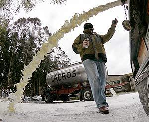 Protestas do leite a pasada semana en Lugo.