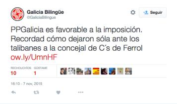 Chío da conta oficial de GaliciaBilingüe.