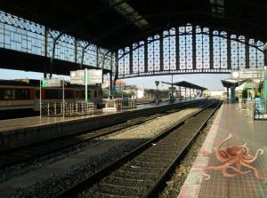 O polbo no andén da estación de ferrocarril de Compostela
