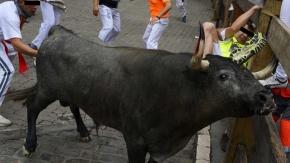 Un grupo de homes violan un touro nos SanFermíns